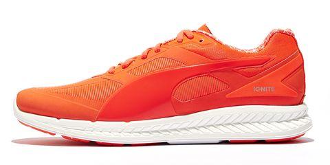 Footwear, Product, Shoe, Sportswear, White, Red, Orange, Athletic shoe, Line, Sneakers,