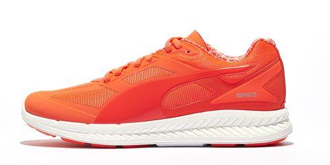 Footwear, Product, Shoe, Sportswear, Orange, White, Red, Athletic shoe, Line, Sneakers,