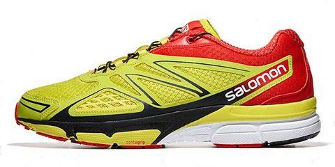 Footwear, Product, Shoe, Yellow, Sportswear, Athletic shoe, Red, White, Line, Logo,