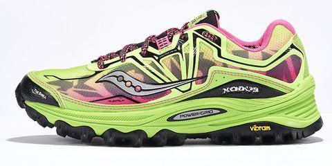 Footwear, Product, Green, Yellow, Athletic shoe, White, Sportswear, Carmine, Logo, Magenta,
