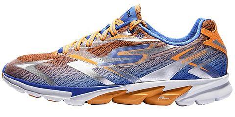 Blue, Product, Athletic shoe, Sportswear, White, Running shoe, Orange, Sneakers, Logo, Tan,