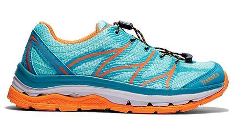 Footwear, Blue, Shoe, Athletic shoe, White, Orange, Running shoe, Sportswear, Aqua, Teal,