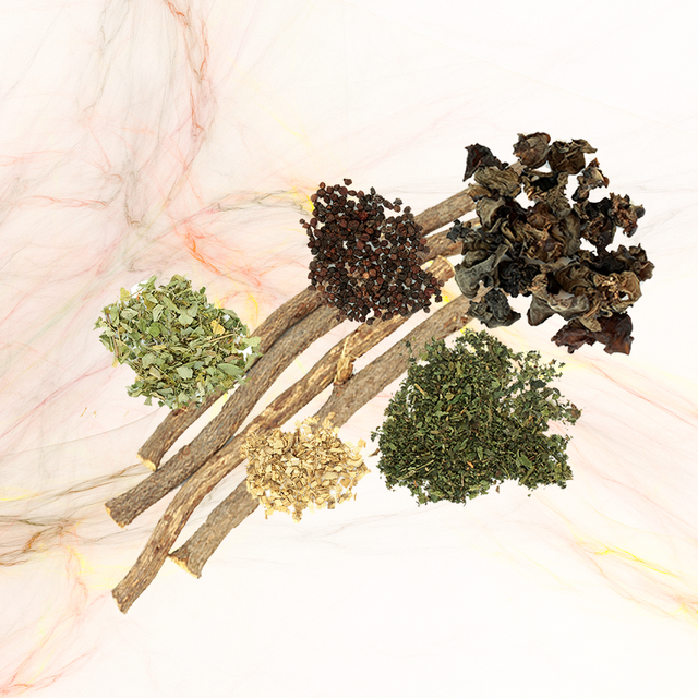 herbs on top of a marble background