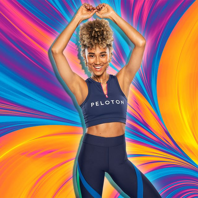 peleton instructor ally love in front of colorful background