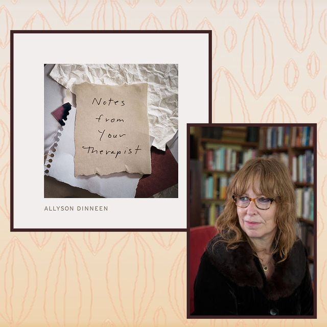notes from your therapist book next to a photo of allyson dinneen