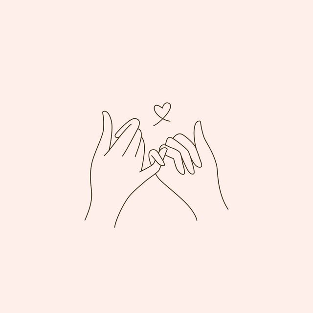 two hands with pinkies locked and a heart above horizontal