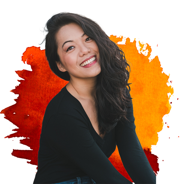 frances tang founder of awkward essentials in front of red and orange background