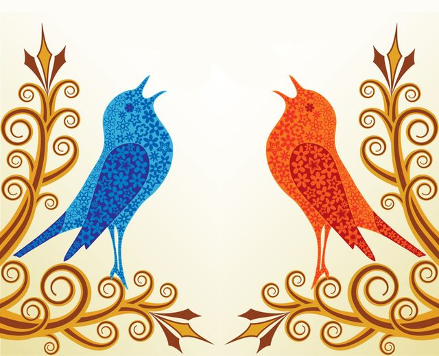 a blue and red bird on twigs chirping into the air