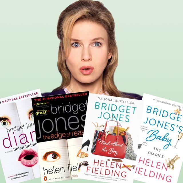 the bridget jones novel series and an image of renee zellweger as bridget jones