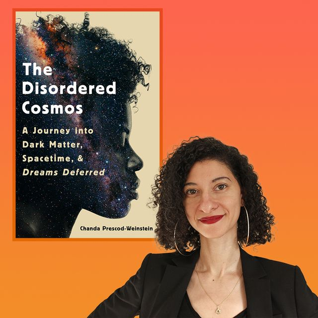 chanda prescod weinstein poses next to the cover of her book, the disordered cosmos