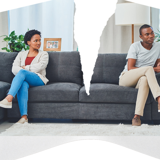 woman and man on couch angry at each other