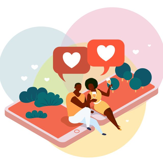 illustration of a black man and woman sitting on top of extra large cell phones holding wine glasses