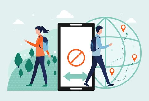 Digital detox concept. A man and a woman exit the smartphone. The idea of abandoning gadgets, devices, the Internet, socializing on social networks, a healthy lifestyle, leisure, travel. Flat vector