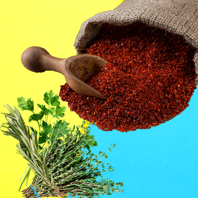 red herbs over a blue background