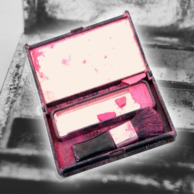 pink blush on black and white background