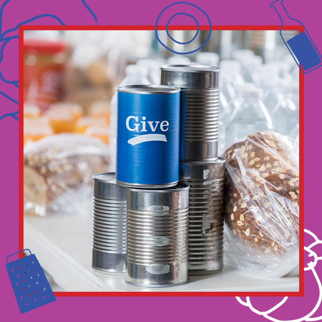 cans and bread for a food bank