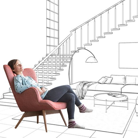 woman relaxing in house