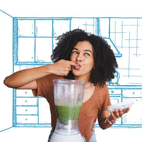 woman tasting something blended in the blender
