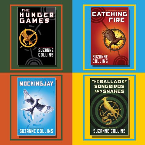 book covers of the hunger games, catching fire, mocking jay, and the ballad o songbirds and snakes