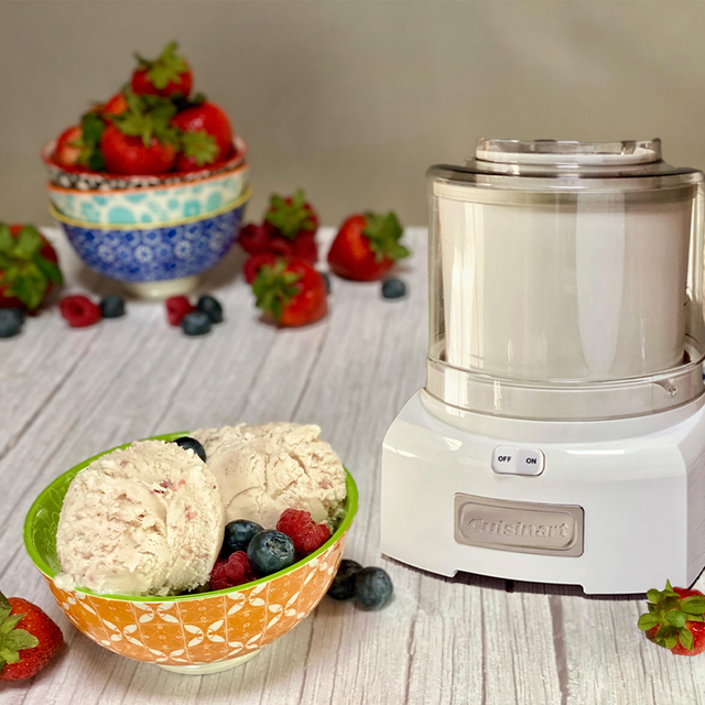 bowl of vanilla ice cream and berries and cuisinart