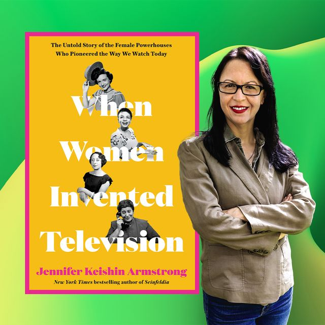 jennifer keishin armstrong poses next to the cover of her book, when women invented television