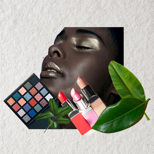 woman with eyeshadow lipsticks gold