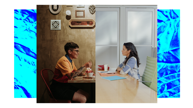 collage of a woman on a date and a woman sitting in a job interview