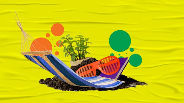 hammock, sunglasses, plant, dirt, yellow background, orange dots, green dots
