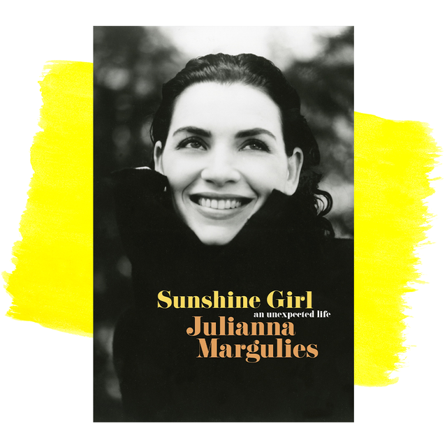 julianna marguilies book cover in front of yellow paint brushstroke