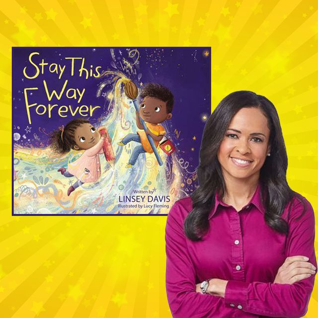 book cover of stay this way forever and linsey davis on yellow background