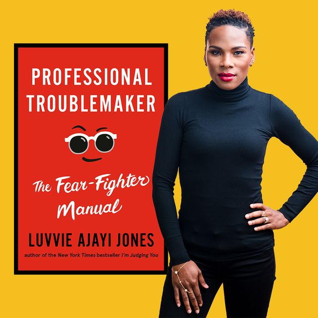 dressed in all black, luvvie ajayi jones appears alongside the cover of her latest book, professional troublemaker