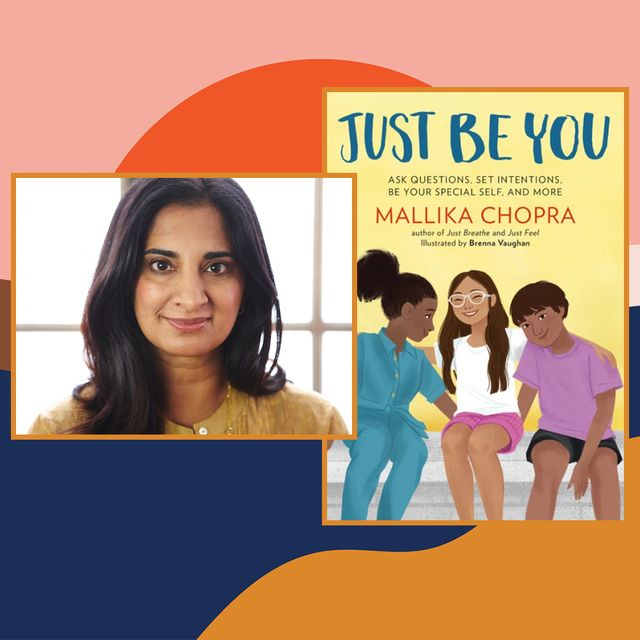 mallika chopra next to cover of book just be you