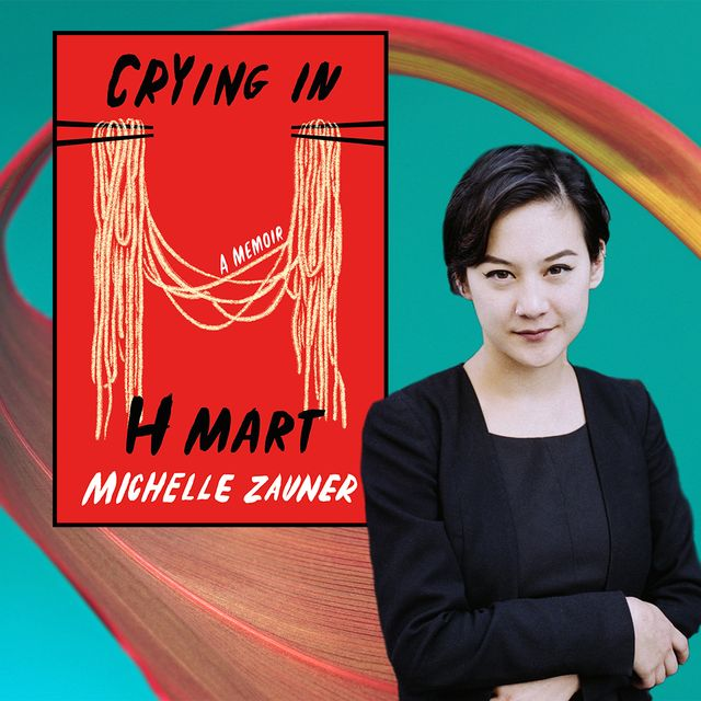 writer michelle zauner poses in black next to the cover of her book, crying in h mart