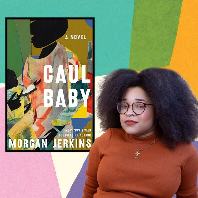 morgan jerkins poses next to the cover of her novel caul baby