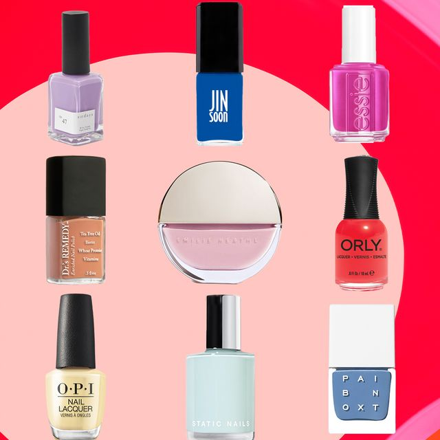 nine multicolored nail polishes for spring on a red and pink background