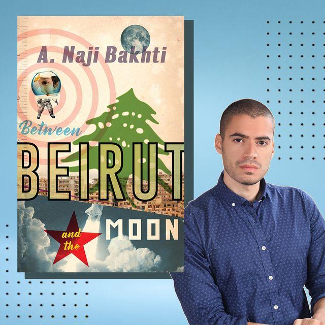 naji bakhti's next to a cover of his debut novel beirut moon