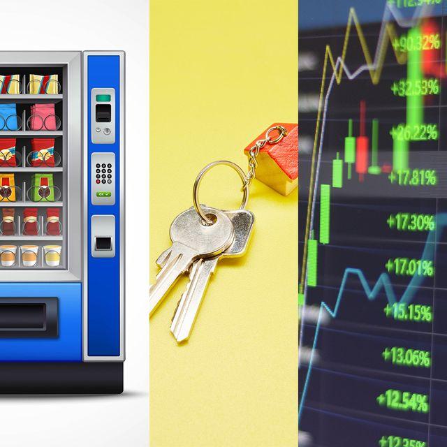 passive income streams vending machines, rental properties, stocks
