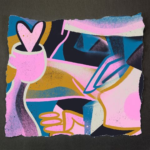 Modern art, Pink, Art, Painting, Still life, Illustration, Font, Drawing, Visual arts, Graphic design,