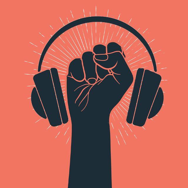 fist with headphones