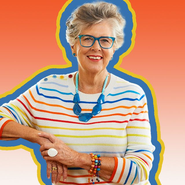 prue leith in front of orange background