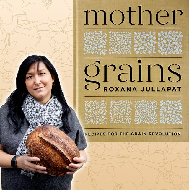 baker roxana jullapat holding loaf of bread and next to her cookbook mother grains