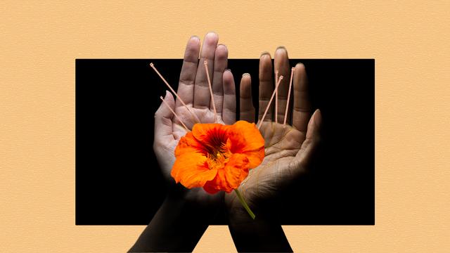 hands holding an orange flower acupuncture needles