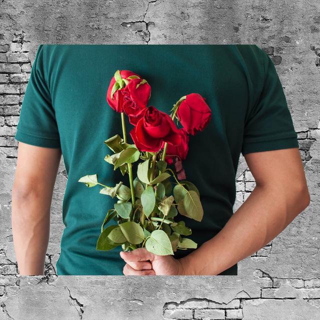 roses behind mans back