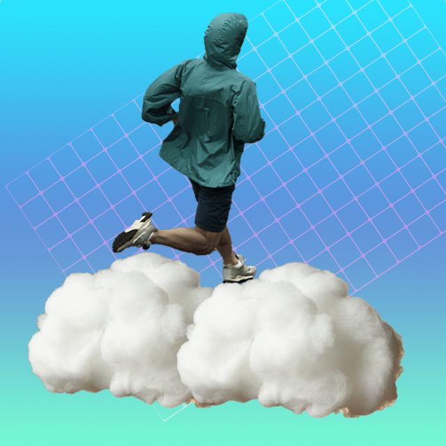 man running on clouds in front of blue background