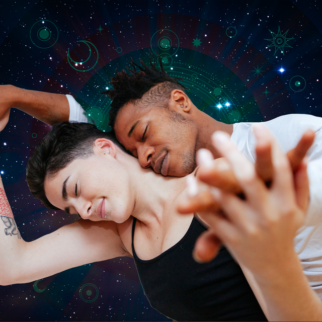 two lovers holding hands in front of stars astrology