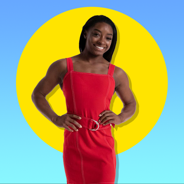 simone biles in front of yellow circle over blue background