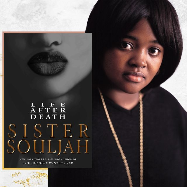 dressed in black, sister souljah is paired with her latest novel, life after death