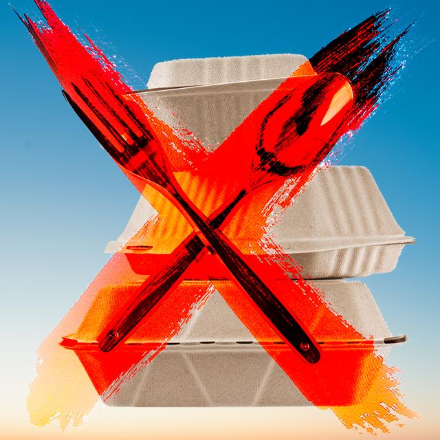 plastic utensils red x