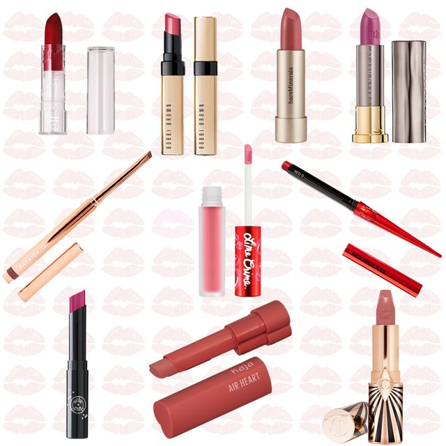 multiple nude, red, and pink lipsticks on a background