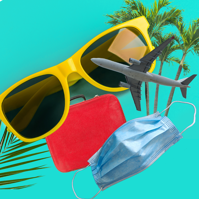 yellow sunglasses red suitcase face mask plane palm tree